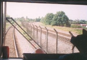 Didcot 1994 - A driver's eye view of the Railway Centre's main line demo line, taken from the Thames Train Turbo whilst going back to the Parkway Station.